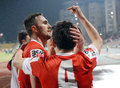 Marius alexe of dinamo bucharest s striker congratulated by his teammates after scoring a goal Royalty Free Stock Photos