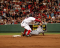 Mark bellhorn slaps a tag on victor martinez red sox b indians catcher Stock Photo