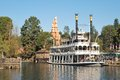 Mark twain river boat at disneyland ca a phot of the riverboat next to pirate s lair on tom sawyer s island on a bright sunny day Royalty Free Stock Photography