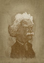 Mark Twain sepia portrait engraving style Royalty Free Stock Photo