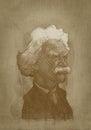 Mark Twain sepia portrait engraving style
