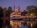 Mark twain steamboat at disneyland anaheim california february the in the evening on february in anaheim california is Stock Photography