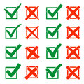 Mark X and V over check box. Green hooks, red crosses. Yes No icons for websites or applications. Right Wrong signs