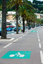 Marked bicycle path on a city street Royalty Free Stock Photography