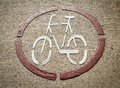 Marked bike lane on the road in bernkastel kues germany Royalty Free Stock Photo