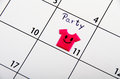 Marked date for party on a calendar Stock Photography
