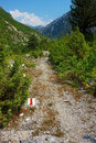 Marked tourist trail view of in mountain valley albanian alps Stock Image