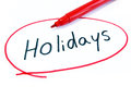 Marked And Written Holidays