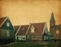 Marken netherlands wooden houses in traditional style Stock Photos