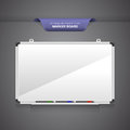 Marker board or whiteboard with markers on blank grey background Stock Photo