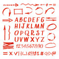 Marker hand written symbols. Vector pen line arrows and circles, letters numbers Royalty Free Stock Photo