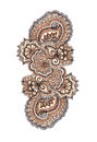 Marker painted decorative ornament indian eastern lacework in brown and blue colors Royalty Free Stock Photos