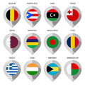 Marker from paper with flag for map - set ninth Royalty Free Stock Photo