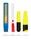 Markers vector various on white background gradient mesh used Stock Image