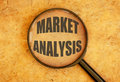 Market analysis magnifying glass focusing on the title Stock Images