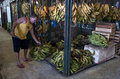 Market in manaus brazil man selling bananas one of the stalls Royalty Free Stock Images
