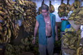 Market in manaus brazil man selling bananas one of the stalls Royalty Free Stock Photography