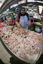 Market merchants peddle chicken in a traditional in the city of solo central java indonesia Stock Images