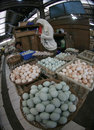 Market merchants peddle eggs in a traditional in the city of solo central java indonesia Stock Photos