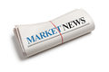 Market news newspaper roll with white background Stock Images