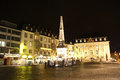 Market place in bonn germany at night the main square of the old town Royalty Free Stock Photography
