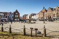 Market place in husum with tine fountain on a sunny day spring Stock Photography