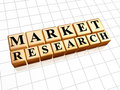 Market research in golden cubes text d with black letters business marketing concept Royalty Free Stock Photography