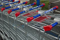 Market s trolleys in lecrercq market mulhouse france august Royalty Free Stock Photo