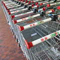 Market s trolleys in match market mulhouse france august Stock Photos