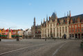 Market square with city hall bruges in old town belgium Royalty Free Stock Image