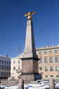 Market Square and stern obelisk of Empress, 1835. Helsinki, Finland Royalty Free Stock Photo