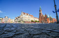 Market square in wroclaw poland – september low angle view of the with the town hall on the right the new city Royalty Free Stock Image