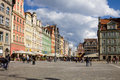 The market square in wroclaw poland is situated historical centre of Royalty Free Stock Image