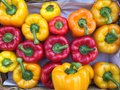 Market stall baskets full of colourful bell peppers Royalty Free Stock Photo