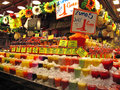 Market stall with fruit shakes at a in barcelona spain Stock Image