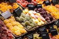 Market stall full of candys in la boqueria market barcelona catalonia Royalty Free Stock Photo