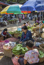 Market stall selling Betel Leaf - Myanmar Royalty Free Stock Photography