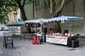 Market stalls selling food being set up in the early morning in bristol ciry centre united kingdom Stock Image