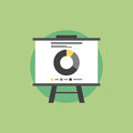 Market statistics flat icon illustration presentation whiteboard with data and for future marketing campaign and business Royalty Free Stock Images