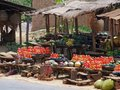 Market in uganda detail of a africa with lots of fruits and vegetables sunny ambiance Royalty Free Stock Photos