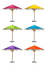 Market umbrellas six colorful on white background Stock Photo