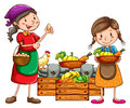 Market vendors selling the fresh harvests Royalty Free Stock Photo