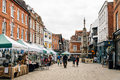 Market in winchester uk august antiques and art street is the ancient capital of england and former seat of king alfred Royalty Free Stock Photos