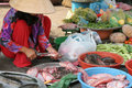 Market woman preparing fish Royalty Free Stock Photos