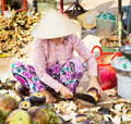 Market women preparing nata de coco Stock Photos