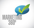 marketing 360 check mark message illustration Royalty Free Stock Photo