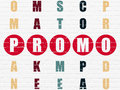 Marketing concept word promo in solving crossword painted red puzzle d render Royalty Free Stock Photography
