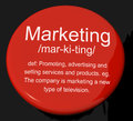 Marketing Definition Button Showing Promotion Sales And Advertis Royalty Free Stock Photos