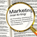 Marketing Definition Magnifier Showing Promotion Sales And Adver Royalty Free Stock Photos