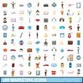 100 marketing icons set, cartoon style